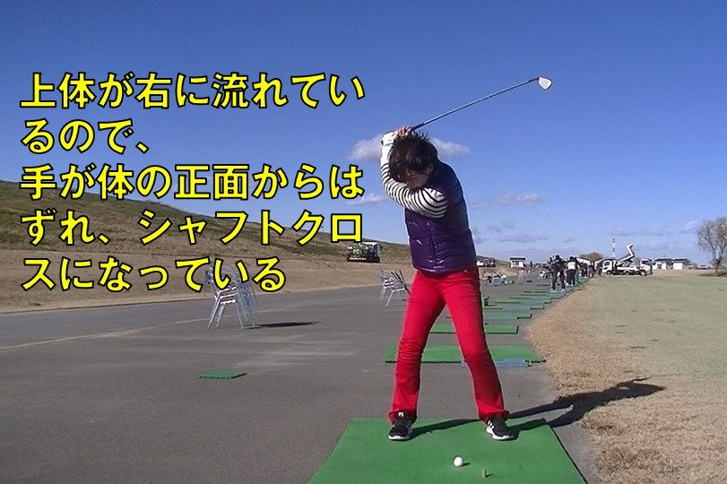 ゴルフ 右スウェイ シャフトクロス
