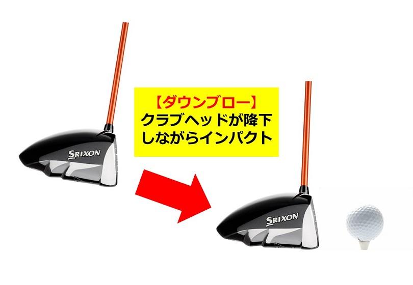 ゴルフ ドライバーのヘッド軌道 ダウンブロー