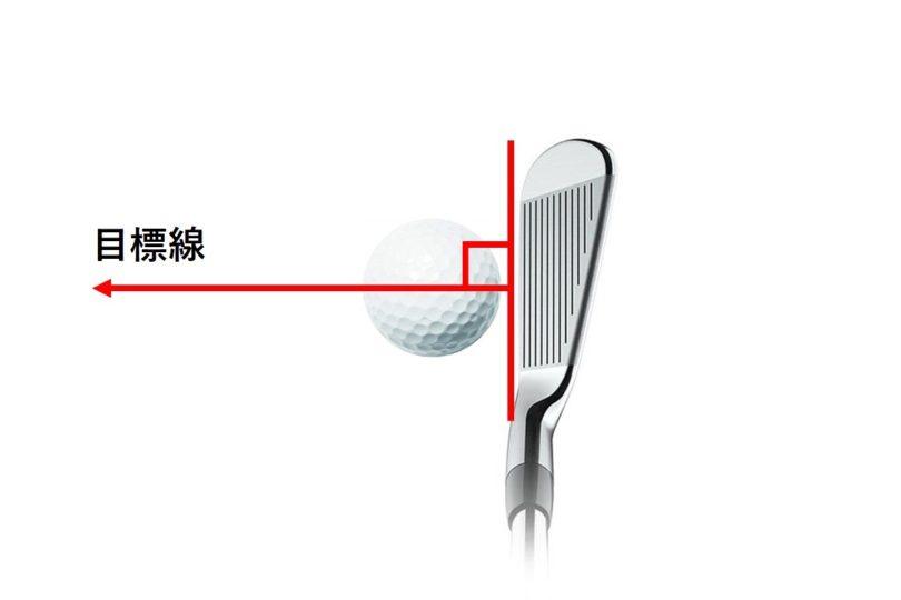 ゴルフ クラブフェースが目標線に対して直角